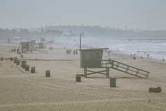 Lifeguard Hut on Santa Monica Beach California Stock Photos