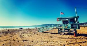 Lifeguard hut in Santa Monica beach. Los Angeles. California, USA Royalty Free Stock Photos