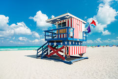 Lifeguard hut in South Beach, Miami Royalty Free Stock Image