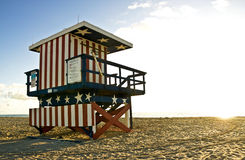 Lifeguard hut on South Beach Miami, at sunrise Stock Image