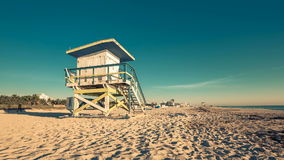 Lifeguard Hut in South Beach during sunrise, Miami stock video
