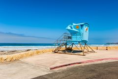 Lifeguard Hut in Southern California. Lifeguard Hut by the Pacific Ocean in Solana Beach, San Diego County, California, USA Royalty Free Stock Photo