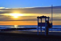 Lifeguard hut on sunrise beach Royalty Free Stock Photo