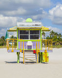 Lifeguard hut at the white beach in South Beach, Miami Royalty Free Stock Image