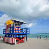 Lifeguard Huts in South Beach, Miami Beach Stock Image