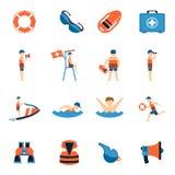 Lifeguard Icons Set Stock Photo