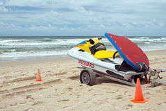 Lifeguard Jetboat on ocean beach Royalty Free Stock Photos