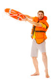 Lifeguard in life vest with ring buoy lifebuoy. Lifeguard in life vest jacket with ring buoy lifebuoy. Man supervising swimming pool water. Accident prevention stock photography
