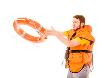 Lifeguard in life vest with ring buoy lifebuoy. Lifeguard in life vest jacket with ring buoy lifebuoy. Man supervising swimming pool water. Accident prevention royalty free stock photography