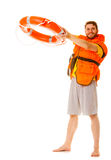 Lifeguard in life vest with ring buoy lifebuoy. Lifeguard in life vest jacket with ring buoy lifebuoy. Man supervising swimming pool water. Accident prevention stock images