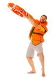Lifeguard in life vest with ring buoy lifebuoy. Lifeguard in life vest jacket with ring buoy lifebuoy. Man supervising swimming pool water. Accident prevention royalty free stock photos
