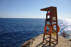 Lifeguard looking for sharks. Unidentified lifeguard watch the beach on November 30, 1010, the same day as four Russian holidaymakers were badly injured by a man royalty free stock images