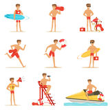 Lifeguard man character doing his job. Water rescue vector Illustrations. Isolated on a white background Stock Photo