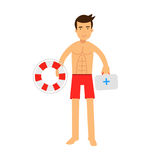 Lifeguard man character on duty holding lifebuoy and first aid kit  Illustration. Isolated on a white background Royalty Free Stock Photography