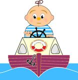 Lifeguard, Motor boat and sailor boy Stock Image