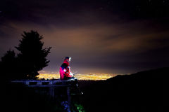 Lifeguard on mountain resort at night Stock Images