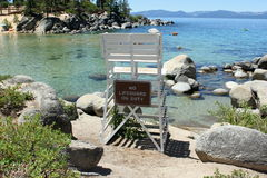 Lifeguard. No lifeguard on duty on the beach in Lake Tahoe royalty free stock photography