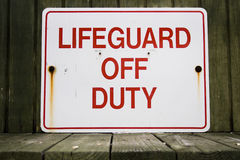 Lifeguard Off Duty Sign Stock Photography