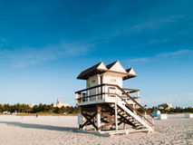 Lifeguard Post. Lifeguard lookout post on a sandy beach on a bright sunny day Royalty Free Stock Photo