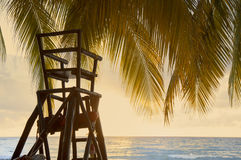 Lifeguard post overlooking ocean under palm tree with filtered e Royalty Free Stock Photography