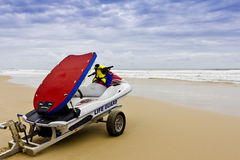 Lifeguard Rescue Boat - Stormy Seas. Lifeguard Rescue Boat waiting on Stormy Beach Stock Photo
