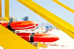 Lifeguard rescue can. A life guard rescue can flotation device stock image