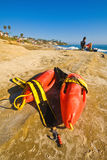 Lifeguard rescue cans (buoys), San Diego beach Royalty Free Stock Image