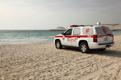 Lifeguard rescue car on the beach Royalty Free Stock Photo