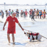 Lifeguard and rescue dog at Ironman 70.3 in Pescara Stock Photo