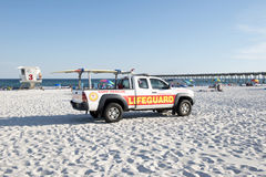 A lifeguard rescue truck and lifeguard station at Pensacola Beach, Florida royalty free stock photography