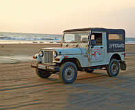 lifeguard's car on the coast of GOA Royalty Free Stock Images