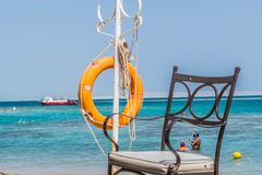 Lifeguard`s place on the beach of the Red Sea royalty free stock photography