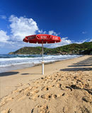 Lifeguard's umbrella in Biodola. Lifeguard's umbrella on the Biodola beach, Elba Island, Italy stock image
