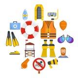 Lifeguard save icons set, flat style vector illustration