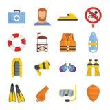 Lifeguard save icons set, flat style. Lifeguard save icons set. Flat illustration of 16 lifeguard save vector icons for web Stock Image