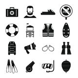 Lifeguard save icons set, simple style. Lifeguard save icons set. Simple illustration of 16 lifeguard save vector icons for web Stock Photos