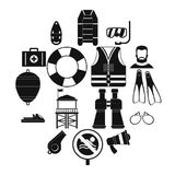 Lifeguard save icons set, simple style. Lifeguard save icons set. Simple illustration of 16 lifeguard save vector icons for web Stock Photography