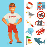 Lifeguard or sea guard watch and water rescue vector  flat icons Royalty Free Stock Photo