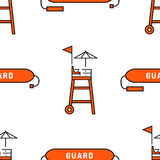 Lifeguard seamless pattern. Lifeguard flat outline seamless pattern with equipment and rescue equipment for the rescue of drowning. Water rescue pattern vector Royalty Free Stock Image