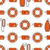 Lifeguard seamless pattern. Lifeguard flat outline seamless pattern with equipment and rescue equipment for the rescue of drowning. Water rescue pattern vector Stock Photos