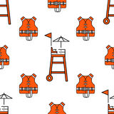 Lifeguard seamless pattern. Lifeguard flat outline seamless pattern with equipment and rescue equipment for the rescue of drowning. Water rescue pattern vector Stock Photography
