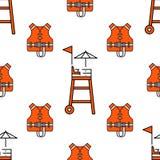 Lifeguard seamless pattern Stock Photography