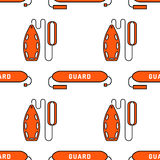 Lifeguard seamless pattern. Lifeguard flat outline seamless pattern with equipment and rescue equipment for the rescue of drowning. Water rescue pattern vector Stock Photo