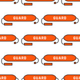 Lifeguard seamless pattern. Lifeguard flat outline seamless pattern with equipment and rescue equipment for the rescue of drowning. Water rescue pattern vector Royalty Free Stock Photography