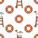 Lifeguard seamless pattern. Lifeguard flat outline seamless pattern with equipment and rescue equipment for the rescue of drowning. Water rescue pattern vector Stock Image