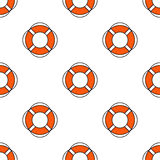 Lifeguard seamless pattern. Lifeguard flat outline seamless pattern with equipment and rescue equipment for the rescue of drowning. Water rescue pattern vector Royalty Free Stock Photos