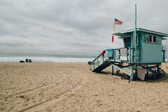 Lifeguard shack on beach Stock Photos