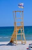Lifeguard shelter. Lifeguard ladder waiting for summer season Stock Photo