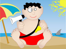 Lifeguard sitting on beach  - Vector. Lifeguard sits on the beach holding a bullhorn and whistle with a shark looming in background Royalty Free Stock Image