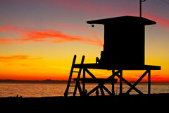 Lifeguard Stand. At sunset at Balboa Beach in Newport Beach Stock Photos